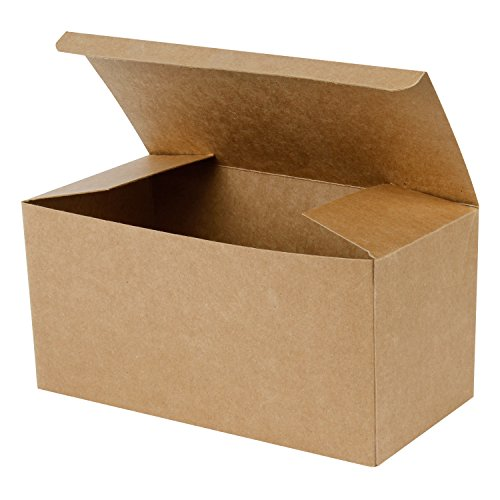 LaRibbons 20Pcs Recycled Gift Boxes - 9 x 4.5 x 4.5 inches Brown Paper Box Kraft Cardboard Boxes with Lids for Party, Wedding, Gift -
