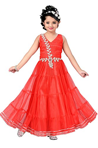 Aarika Girl's Self Design Net Fabric Party Wear Ball Gown (G-2716-RED_36_13-14 Years) by Aarika