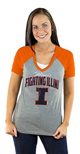 Illinois Fighting Illini Apparel (NCAA Illinois Fighting Illini Women's Short Sleeve V Neck Raglan Tee, Medium, Orange)