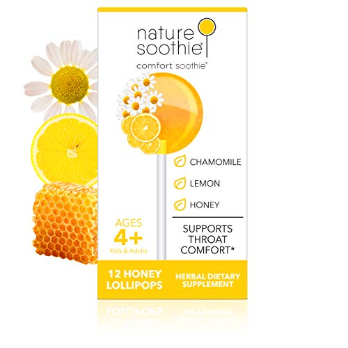 Nature Soothie Comfort Soothie Honey Lollipops with Herbal extracts That Support Throat Comfort (Lemon & Chamomile Extract) 12 Count (1 Pack)