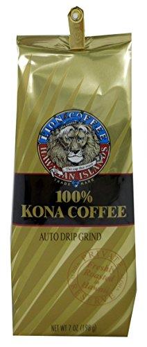 Lion Coffee 24K 100% Kona Gourmet Coffee (Ground, Light Medium Roast, 100% Kona Coffee Blend, 7oz Bag)