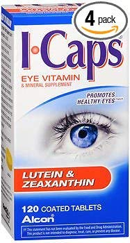 ICAPS Lutein & Zeaxanthin Eye Vitamin & Mineral Supplement Tablets - 120 Tablets, Pack of -