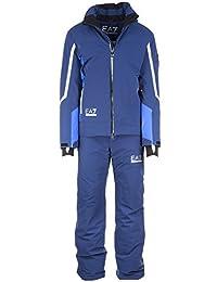 Emporio Armani EA7 men's ski suit jacket trousers winter blu US size M (US 38) 6XPG05 PN44Z 582