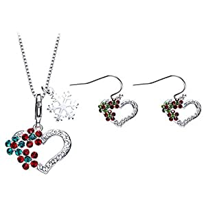 IUHA Christmas Day Sweet Love Necklaces colorful Necklaces Made with Swarovski Crystals For Women Gifts