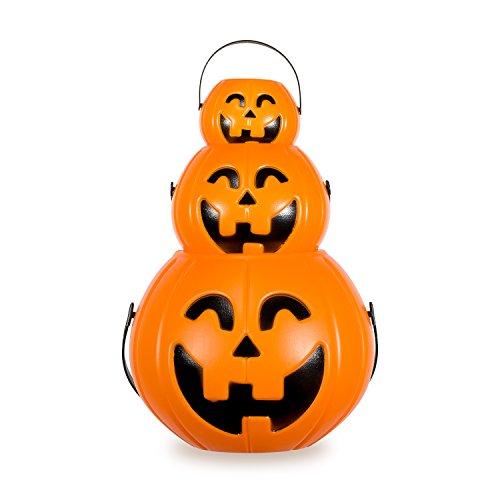 Pumpkin Halloween Lantern, Zubita 3 in 1 Pumpkin Halloween Bucket Plastic Lantern Cute Pumpkin Lantern with Hand Strap for Halloween Home Prop Decoration or Halloween (Halloween Pumpkin Lanterns)