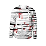 iTLOTL Couple 3D Blood Bandage Print Halloween Long Sleeve Hoodie Sweater Top(Black,US-14/CN-XL)
