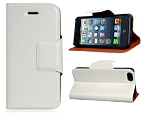 Get Faux Leather Stand Protective Case for iPhone 5 (White)