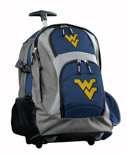 Official Logo Ncaa Backpack - Broad Bay WVU Rolling Backpack or West Virginia CarryOn Suitcase Bag OFFICIAL NCAA BAGS