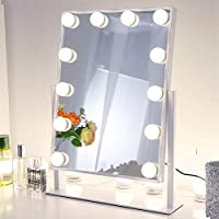 Chende Lighted Vanity Mirror with Dimmable LED Bulbs, Hollywood Style Makeup Mirror with Lights for Touch Control Design, 3 Different Lighting Settings (4030 White)