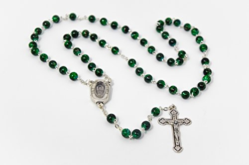 Green Lourdes Water Rosary Beads From Lourdes with Lourdes Prayer Card