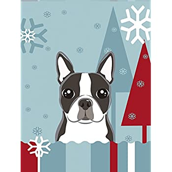 Carolineu0027s Treasures BB1699GF Winter Holiday Boston Terrier Garden Size Flag,  Small, Multicolor