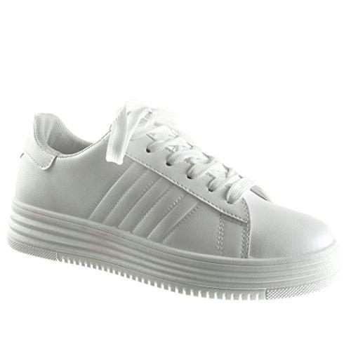 Angkorly - damen Schuhe Sneaker - Tennis - Plateauschuhe - low - Fertig Steppnähte Keilabsatz high heel 3.5 CM - Weiß