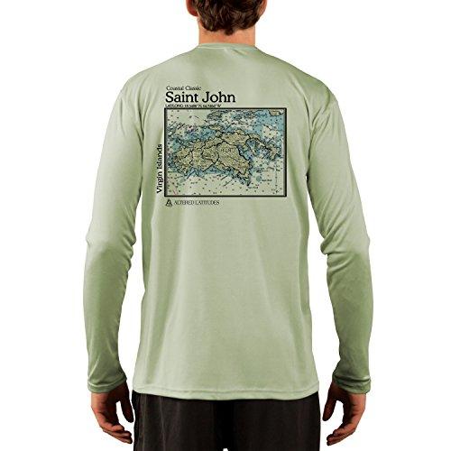 Altered Latitudes Coastal Classics Saint Johns Chart Men's UPF 50+ Long Sleeve T-Shirt Large Sage (Shirt St John T)