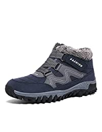 Mens Casual Snow Boots Anti-Slip Winter Shoes Fully Fur Lined Walking Sneaker Warm Lace Up Ankle Boots
