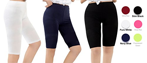 Century Star Women's Modal Over The Knee Length Smooth Short Plus Size Elastic Waist Sport Leggings 3 Pairs Black Navy White US M-US (Knee Short)