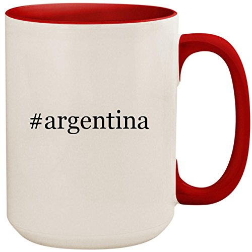 (#argentina - 15oz Ceramic Colored Inside and Handle Coffee Mug Cup, Red)