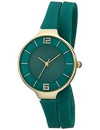 TKO Women's Thin Double Wrap Green and Gold Slim Wraparound Watch TK645GR