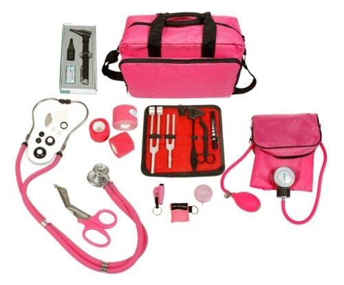 ASATechmed Nurse Starter Kit - Stethoscope, Blood Pressure Monitor, Tuning Forks, and More - 18 Pieces Total (Pink)
