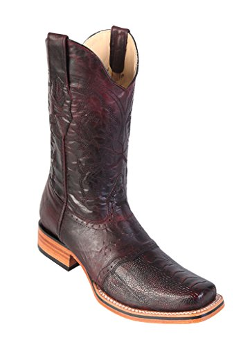 (Men's Wide Square Black Cherry Genuine Leather Ostrich Leg Skin Rodeo Boots with Saddle )