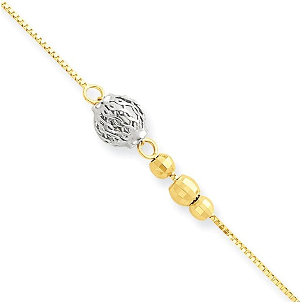 14K Two Tone Gold Bead with 9w//1in ext Anklet