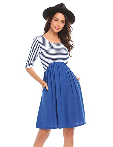 SummerRio Women's Casual Striped Half Sleeve A Line Loose T Shirt Dress