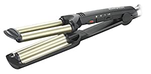 BaByliss Easy Wave C260E - Plancha de pelo para ondas, revestimiento de cerámica y titanio, hasta 200º C