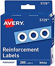 """Avery 05729 Dispenser Pack Hole Reinforcements, 1/4"""" Dia, White (Pack of"""