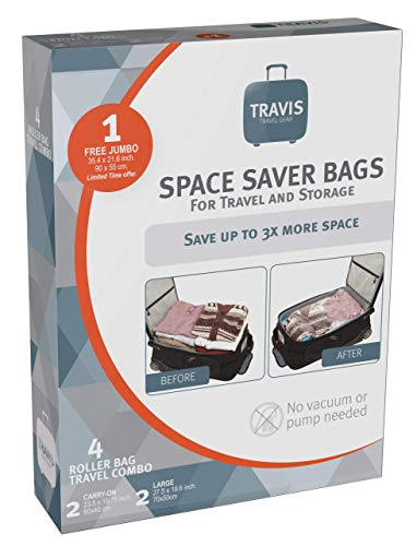 - Travis Travel Gear Space Saver Bags. No Vacuum Rolling Compression, Multi Size Pack of 5