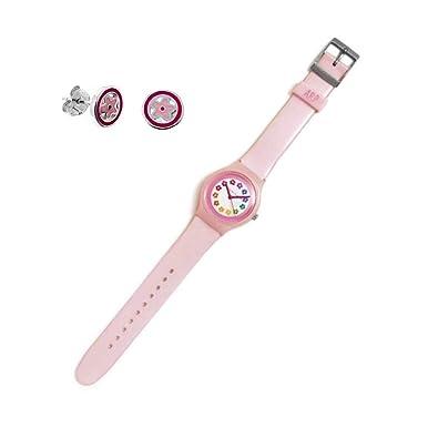 Juego Agatha Ruiz De La Prada Reloj Agr238 Rosa Esfera Flores Pendientes Plata Ley 925M Flor