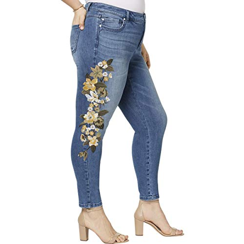 (INC Womens Plus Embroidered Slim Fit Skinny Jeans Blue 20W)