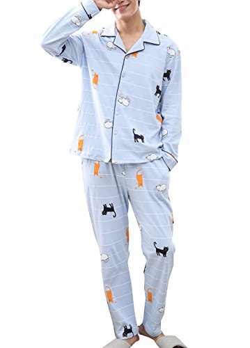 Big Boys Fun Cat Revere Collar Casual Pajama Set with Long Sleeve 10-20 - Revere Collar