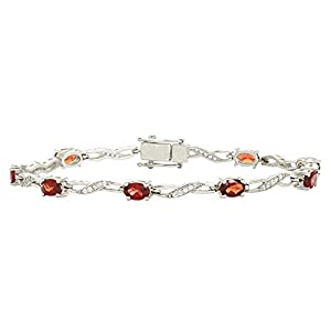 Elegant Garnet Gemstone 925 Sterling Silver Bracelet For Engagement Gift