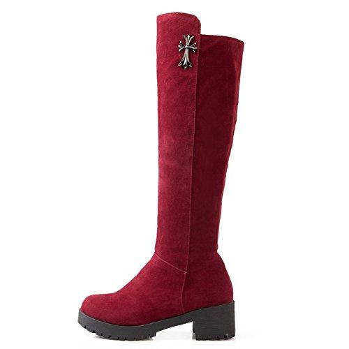 AgooLar Women's Pull-on Kitten-Heels Flock Solid High-top Boots Red aI6jjb6