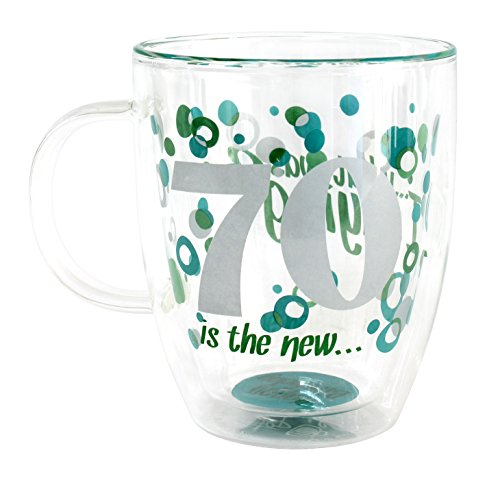 """Top Shelf """"70th Birthday"""" Decorative Double Wall Clear G"""