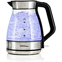 Sensio Home Electric Cordless Chrome Glass Kettle 1.7L - Quiet Fast Boil with 3kW Rapid Boil Element - Illuminated LED Jug with Swivel Base and Flip Top Lid - Removable