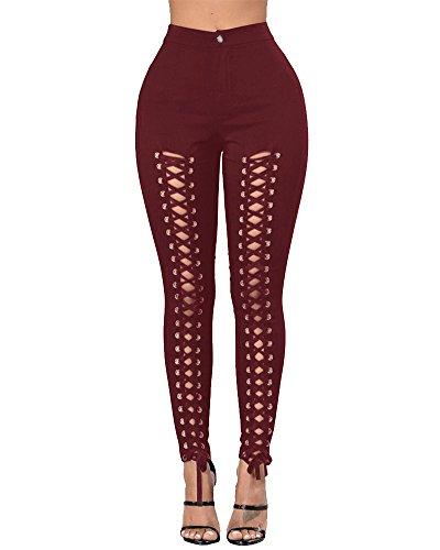 Jeans Donna Distrutti Alta Skinny Casuale Slim Vita A Rosso Pantaloni Bandage Vino 77r5qx4T