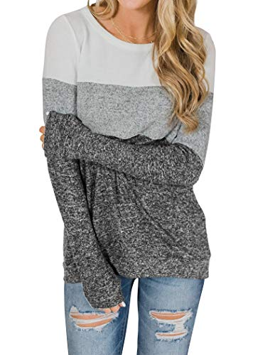 Minthunter Women's Long Sleeve Color Block Cute Shirt Round Neck Casual Tops