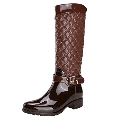 Alexis Leroy Ladies Quilted Knee High Rain Boots Women's Wellington Boots Brown