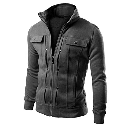 Napoo Hot Sale Top Fashion Designed Zipper Cardigan Coat Slim Cotton Swearshirt Jacket With Button (XL, Dark Gray) by Napoo