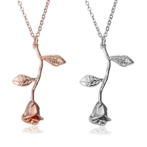 Gmai Vintage Rose Flower Pendant Necklace Lovers Birthday Friendship Jewelry Gift (Rose Gold+Silver) ()