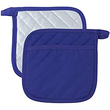Pot Holders with Pockets Cotton Made Machine Washable Heat Resistant Potholder, Pot Holder, Hot Pads, Trivet for Cooking and Baking (2, Blue)