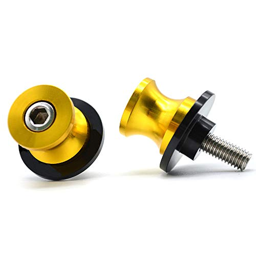 2pac M6 Motorcycle Universal Swing armSliders Spools CNC Swing Arm Stand Screw For Yamaha YZFR1/R6/R125/R6S/R25/R3/600R/ Aprilia RSV MILLE (S/R) RSV4 R Tuono and More (yellow)