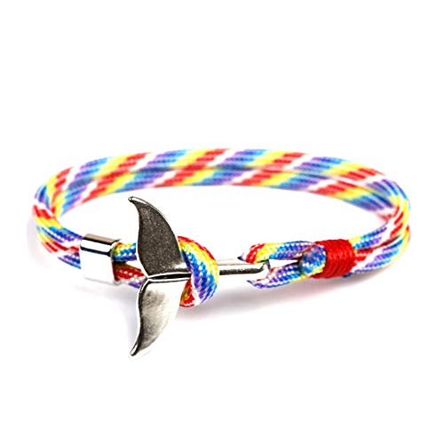Male Lacrosse Resin - Whale Tail Anchor Bracelets Men Women Charm Nautical Survival Rope Chain Bracelet Male Wrap Metal Hooks,White