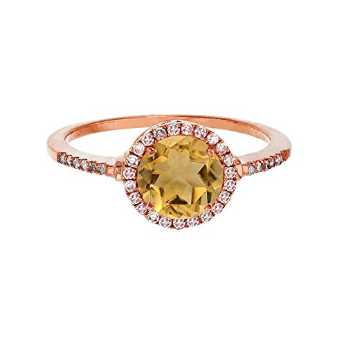 Sterling Silver Rose 7mm Round Citrine & Created White Sapphire Halo Ring