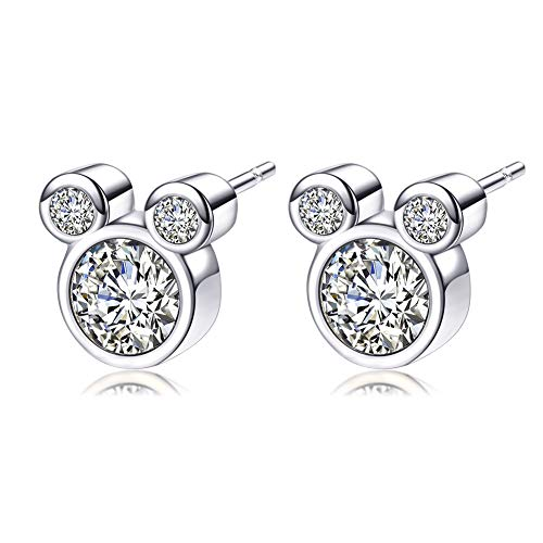 925 Sterling Silver Mouse Shape Stud Earrings with Sparkling Cubic Zirconia Cute Stud Earring for Women Girls Gifts