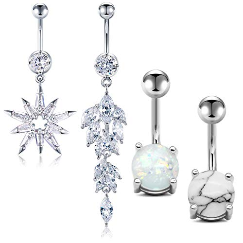 JFORYOU 4 Pcs Belly Button Rings Stainless Steel for Women Girls Rhinestone 4 Style 14G Dangle Navel Piercing Silver Body Piercing Jewelry