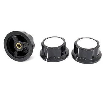 3 Pcs 6 milímetros Shaft Buraco 36 milímetros Cap Dia Amplificador potenciômetro botões pretos