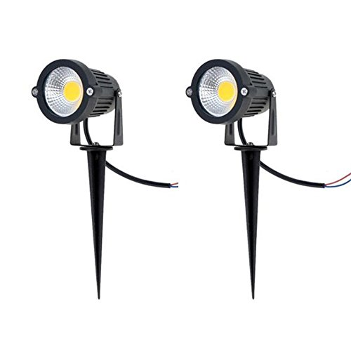 SinoPro Outdoor Waterproof Decorative Spotlight-6W COB LED Landscape Path Light AC/DC 12V with Spiked Stand, Pack of 2 (Warm White (Low Voltage Led Lights)
