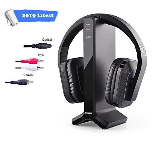 Wireless Headphones for Smart TV Watching with Transmitter Charging Dock, Digital Optical System, High Volume Headset Ideal for Seniors/Hearing Impaired, 100 Foot Wireless Range No Audio Delay