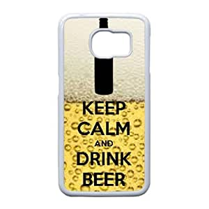 Unique Phone Cases Samsung Galaxy S6 Edge Cell Phone Case White Keep Calm Drink Beer Nvejn Plastic Durable Cover